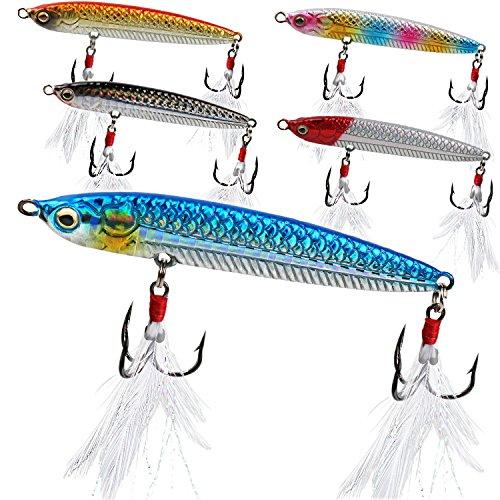 Sougayilang Fishing Jigging Lures 3/2oz Blade for Saltwater Freshwater Deep Water Sinking Hard Fishing Spoons Tackle Baits ()