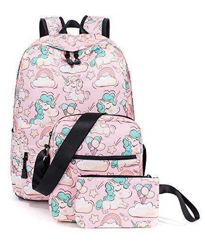 Unicorn Backpack for Girls, School Laptop Knapsack Shoulder Bag Pencil Case Set