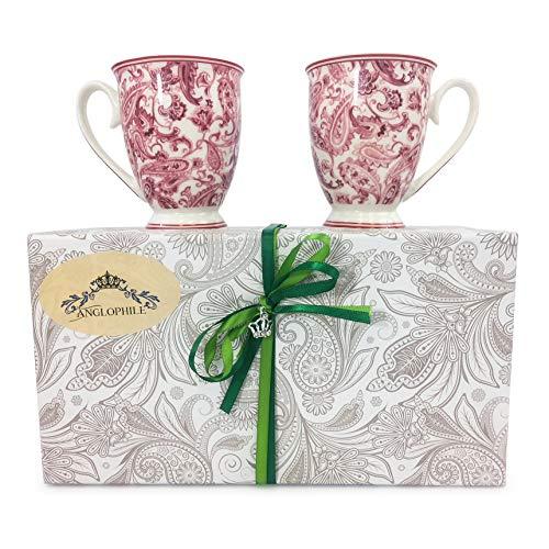 (Bone China Mug Set Of Two In Gift Box (Pink Paisley))