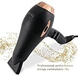 Hair dryer Pro AC motor Ionic & Ceramic fast 1875W Long Life blow dryer by Asavea (black)