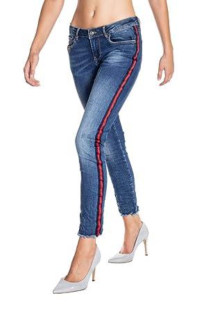 Seitenstreifen Mit Honey Damen 10036 Size Monkey Cropped Jeans Blue NZ0Pk8wXnO