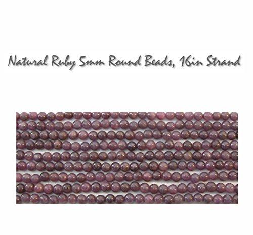(Natural Genuine Ruby 5mm Round Gemstone Beads, 16 inch strand, for Jewelry Making)