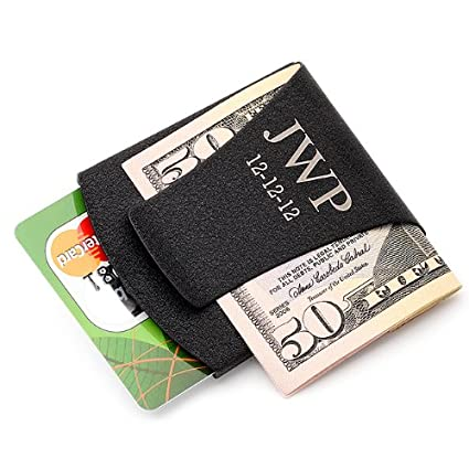personalized smart money clip card holder black free engraving - Money Clip Card Holder
