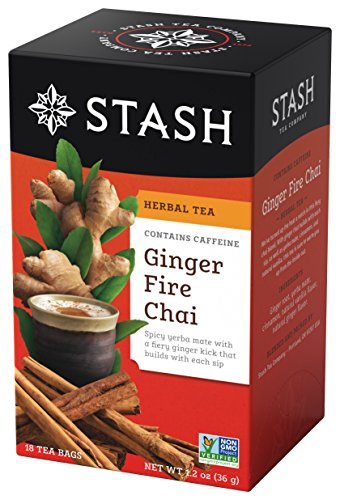 Stash Tea Ginger Fire Chai, Yerba Mate & Herbal Tea Blend, 18 Count Tea Bags in Foil (Pack of 6) (packaging may vary)