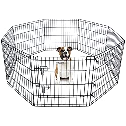 "Pet Dog Playpen Foldable Exercise Pen Metal Yard Fence/Portable for travel camping 8 Panel-24"" (24"")"