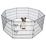 Pet Dog Playpen Foldable Exercise Pen Metal Yard Fence/Portable for travel camping 8 Panel-24″ (24″) For Sale