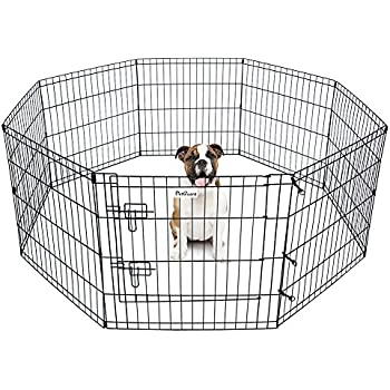 Pet Dog Playpen Foldable Exercise Pen Metal Yard Fence/Portable For Travel  Camping 8 Panel