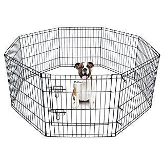 "Pet Dog Playpen Foldable Puppy Exercise Pen Metal Portable Yard Fence for Small Dog & Travel Camping 8 Panel-24& 42'' (24""x24"")"