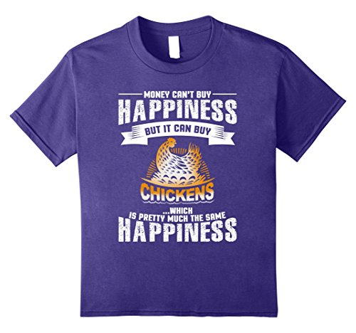 unisex-child Chickens Equal Happiness Chicken Lovers T Shirt 12 Purple