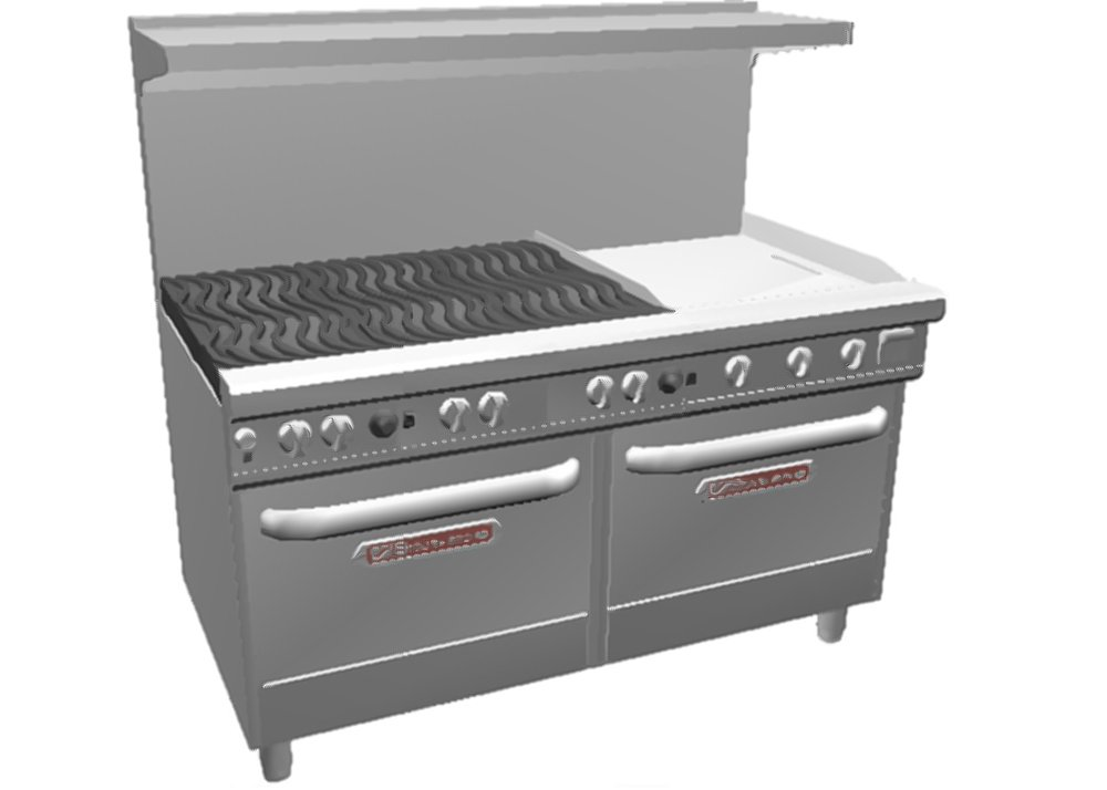 "60"" Gas 6 Burner Range 2 Convection Ovens 24"" Griddle"