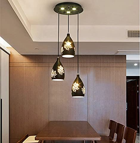 jlysheng Led Restaurant pendant lights Modern simple three-head dining pendant lights lamp creative individualized maple Leaf chandelier,black - Maple Three Pendant Light