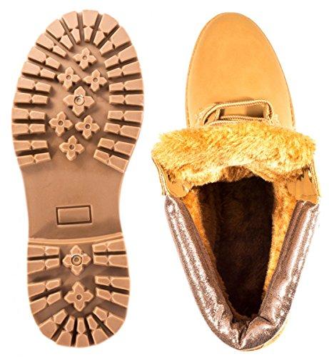 Elara Damen Worker Boots | Bequeme Warm Gefütterte Schnürrer | Outdoor Stiefeletten Camel/Champange