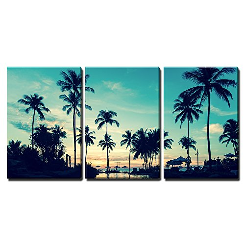 """Wall26 - 3 Piece Canvas Wall Art - Soft Twilight of the Amazing Tropical Marine Beach. - Modern Home Decor Stretched and Framed Ready to Hang - 24\""""x36\""""x3 Panels"""