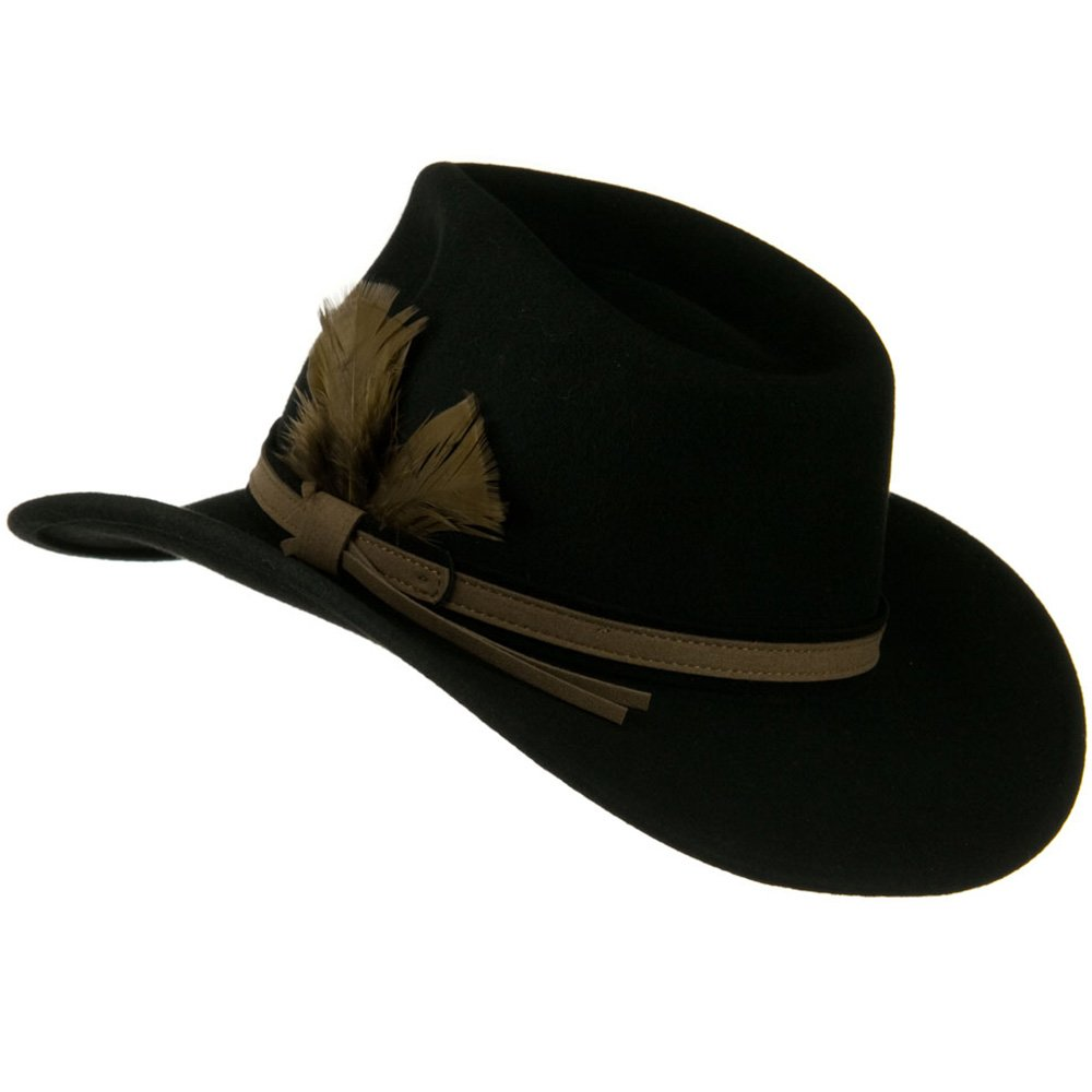Jeanne Simmons Outback Wool Felt Fedora Hat with Feather Black W18S31F