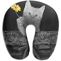 Kitten With Sunflower Cats Perfectly Memory Foam Travel Neck Pillow