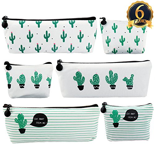 SUBANG 6 Pack Pencil Case New Style Cactus Pencil Bag Cute Canvas Pencil Box Makeup Bag (A Pineapple Special With Pencil)