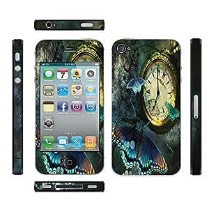 Meffort Inc Apple iPhone 4S Skin Sticker Art Decal (Bubble Free) - Clock Butterfly Design