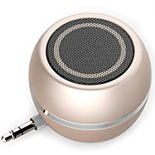 Compact Portable Mini Speakers Round Powerful Clear Bass 3.5mm Line-in Rechargeable Amplifier with Micro USB Port for iPhone 6 6s,iPad mini/1/2/3,iPod,Tablets,MP3 Player,Laptop,Mobile Phone