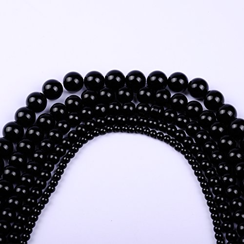 Natural Stone Beads Round Dyed Jade Loose Beads Bulk For Jewelry Making (4mm, black)