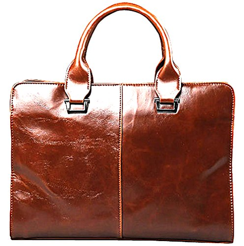 Men's Bag Briefcase Business Messenger Tote Notebook Office Shoulder 13inch Brown Leather 00qprcwZ