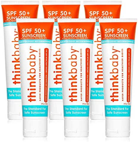 Thinkbaby Safe Sunscreen SPF 50+ (3 Ounce) (6 Pack)