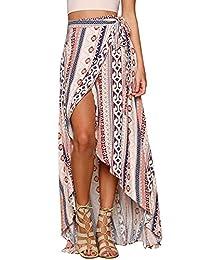 Honeystore Women Ethnic Print Maxi Skirt Wrapped Beach Cover up Dress