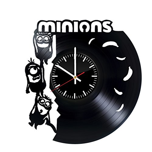 Fun Door Minions Handmade Vinyl Record Wall Clock for Birthday Wedding Anniversary Valentine's Mother's Ideas for Men and Women him and -