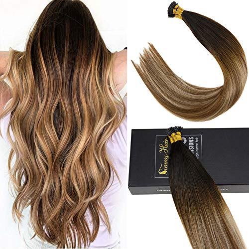 Sunny 20inch I Tip Human Hair Extensions 100% Remy Hair Extensions Darkest Brown Fading to Medium Brown Mixed Blonde Stick Tip Hair Extensions Human Hair 50g/pack ()