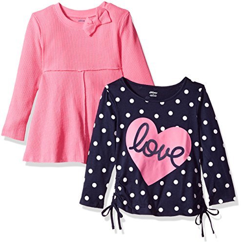 Gerber Graduates Baby Toddler Girls' 2 Pack Tops, Love/Pink, 4T