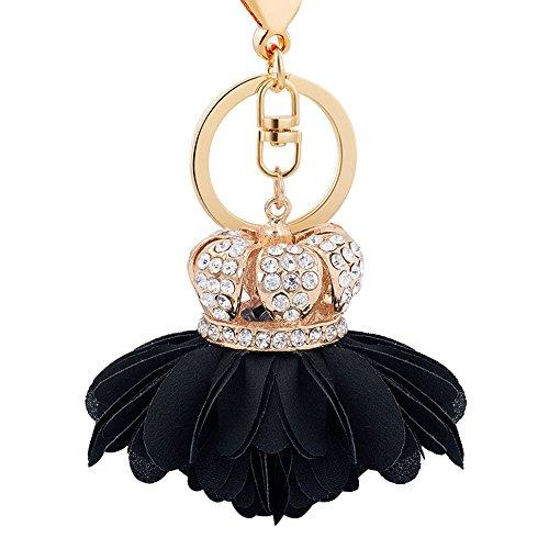Crown Badge - Joopee Crown Cloth Flower Shape Alloy Key Chain Fashion Girls Bag Pendant Car Ornaments Creative Gift (Black)