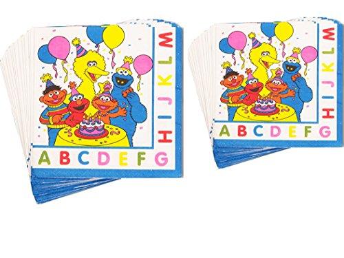 Sesam Street Party Napkins Bundle 2 packs: 1 Pack of 16 Lunch Napkins + 1 Pack of 16 Beverage (Sesame Street Party Big Bird Lunch Napkins)