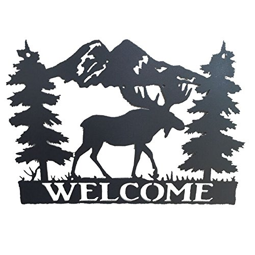Original Metal Art Wildlife Welcome Signs - Western Style Home Decor - Wall Accessory (Moose)