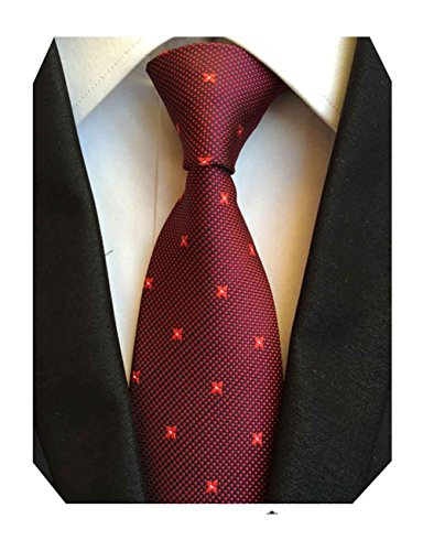 MINDENG Two Tone Men Neck Tie, Wine Red, One Size (Tone Two Wine)