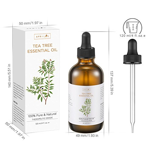 Tea Tree Essential Oil, Large 4 oz Bottle, 100% Pure & Natural, Undiluted Therapeutic Grade, Treats Acne, Cutaneous Skin Tags, Bacterial Infections, Nail Fungus by Aprilis (Image #7)