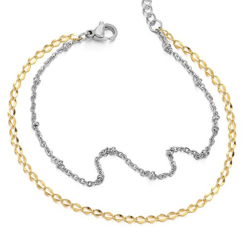 - Stainless Steel Two-row Double Chain Silver Gold Anklet Bracelet