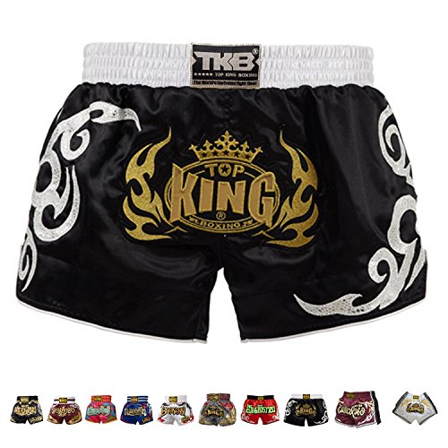 Top King Boxing Muay Thai Shorts Normal or Retro Style Size S, M, L, XL, 3L, 4L (Retro Black XL)