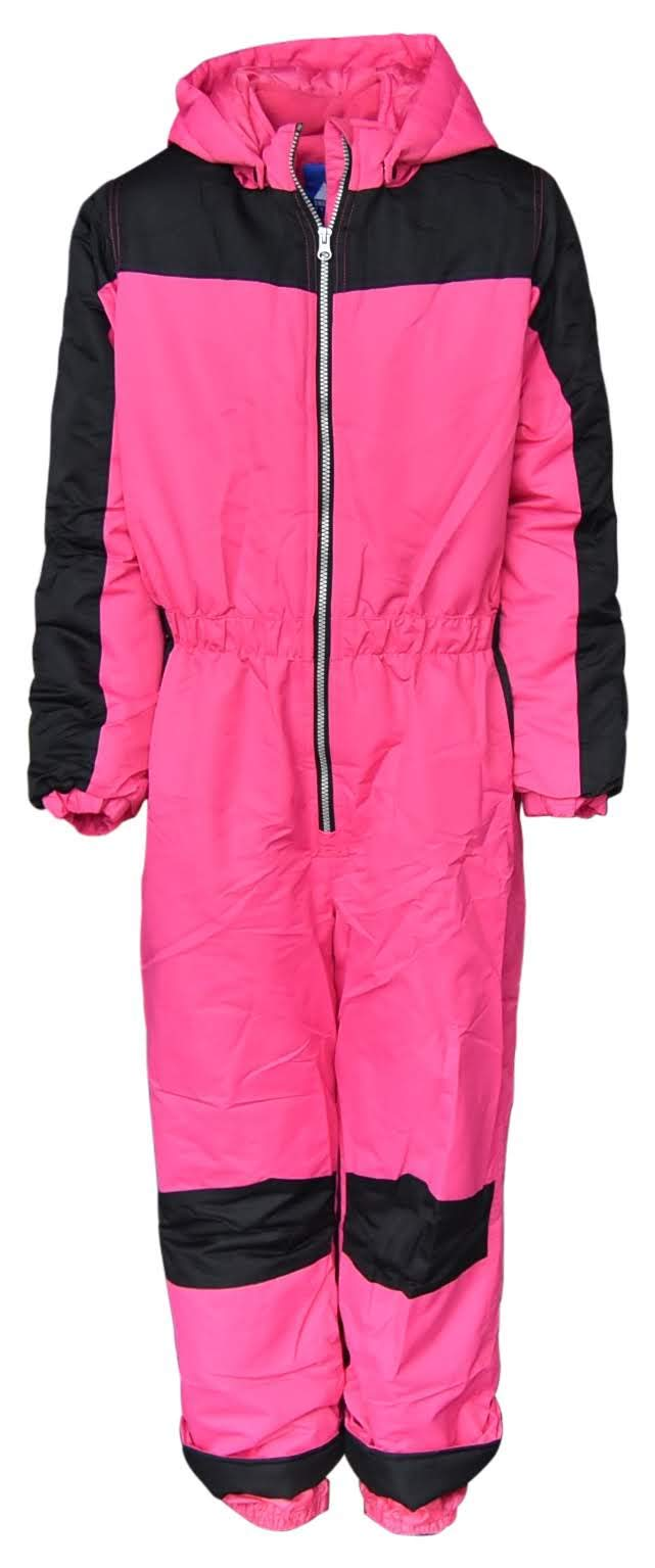 Snow Country Outerwear Girls 1 Piece Insulated Ski Snowsuit Coveralls Age 7 to 14 (Small (7/8), Hot Pink Black) by Snow Country Outerwear