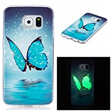 Case for Samsung Galaxy S6, TIPFLY Colorful IMD Pattern Design Luminous Effect Fluorescent Glow in the Dark Transparent TPU Silicone Back Cover Case for Samsung Galaxy S6 - Blue Butterfly