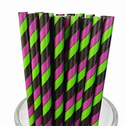 Free DHL 500 pcs Black Purple Green Striped Paper Straws Bulk, Stripe Paper Drinking Straws for Holiday Party, Wedding, Birthday, Halloween Mason Jar (Paper Halloween Stripe)