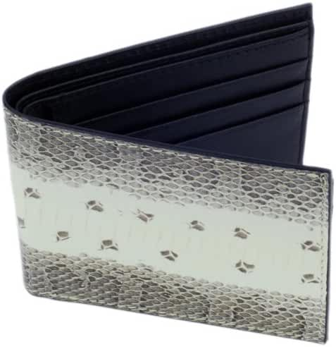 SnakeSkin Leather Wallet, BiFold, 6 Credit Card Slots, White