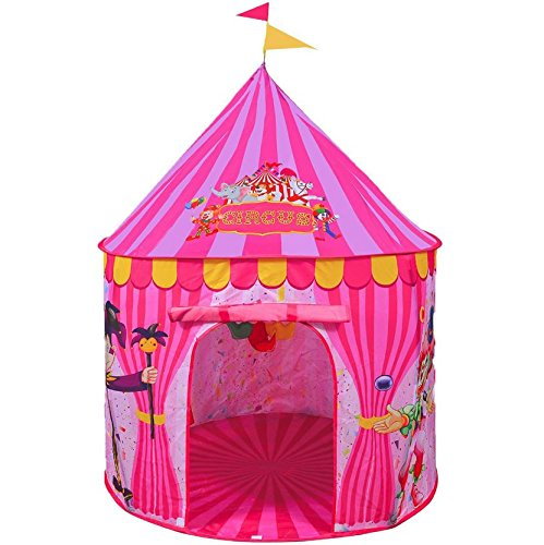 Play Tent For Kids: Vibrant Pink' Toy Circus Tent In Sturdy Carrying Bag| Durable, Lightweight & Portable Kids' Tent For Indoor & Outdoor Use| Easy Setup & Storage| Great Gifting Idea by Kidsy