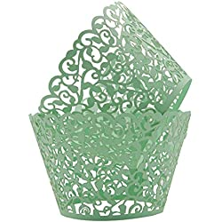 KEIVA Pack of 100 Vine Cupcake Holders Filigree Artistic Bake Cake Paper Cups Vine Designed Decor Wrapper Wraps Cupcake Muffin Paper Holders for Wedding Party Birthday Decoration (100, Green)