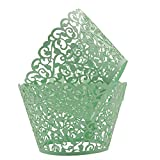 easy bake cupcake wrappers - KEIVA Pack of 100 Vine Cupcake Holders Filigree Artistic Bake Cake Paper Cups Vine Designed Decor Wrapper Wraps Cupcake Muffin Paper Holders for Wedding Party Birthday Decoration (100, Green)