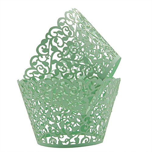 KEIVA Pack of 50 Vine Cupcake Holders Filigree Artistic Bake Cake Paper Cups Vine Designed Decor Wrapper Wraps Cupcake Muffin Paper Holders for Wedding Party Birthday Decoration (50, (Green Halloween Cupcakes)