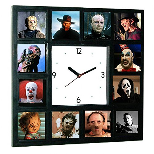 Goth Clock - Limited Edition Glow-in-the-dark Horror Movie Killers Hannibal , Pinhead, Chucky, Leatherface, Scream and more Clock