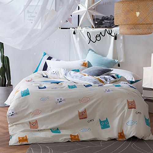 TheFitペイズリーテキスタイル寝具for Adult u1978魚と猫布団カバーセット100 %コットン、クイーンセット、4ピース B06XSQWS3J