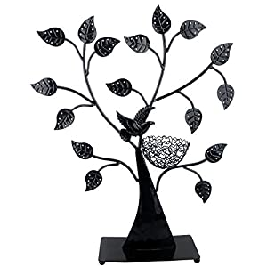 MyGift Jewelry Tree w/Bird Nest 48 Pair Earrings Holder, Bracelets/Necklace Organizer Stand