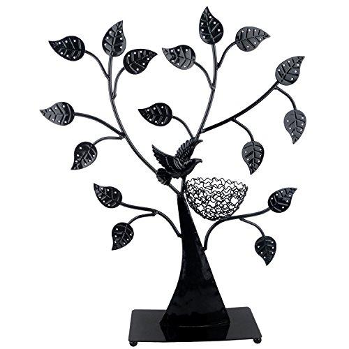 Jewelry Tree Bird Nest Black Table Top Décor 48 pair Earrings Holder / Bracelets Necklace Organizer Stand Display (Jewelry Tree Earring Necklace Bracelet)