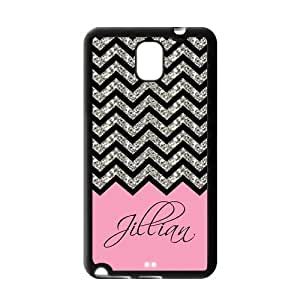 Black Grey Chevron & Hot Pink Pattern (NOT ACTUAL GLITTER) Personalized Custom Samsung Galaxy Note 3 N900 Best Rubber & Plastic Case
