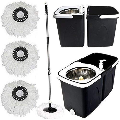 Gr8 Home Black Space Saving 360° Dual Duo Floor Mop Dispenser Bucket Set Spinning Rotating with 3 Cleaning Dry Heads